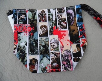 "Small Reversible WIP bag, ""The Walking Dead"""
