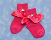 Reserved for naomilynns - Hot Pink -  Ribbon Edged with Rose for Little Girls - Size 5-6 1/2 (Toddler) - US Shoe Size 3-7
