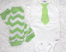 Newborn Baby Boy Coming Home Outfit/Baby Boy Hospital Outfit/Baby Boy Outfit/Baby Boy Tie Onesie and Leg Warmers/Lime Green and White