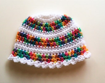 Summer Rainbow Striped Newborn Beanie - Scallop Edged Newborn Beanie - Newborn 0 to 3 months