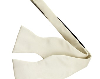 Men's Solid Ivory Self-Tie Bowtie, for Formal Occasions