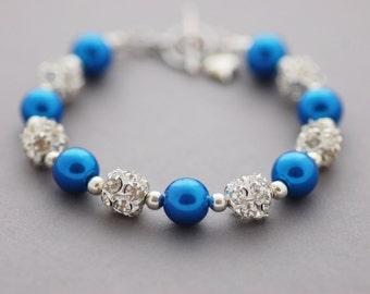 SPRING SALE • Blue Pearl Bracelet • Blue Glass Pearl and Rhinestone Beaded Bracelet • Gift for Her • UK Seller
