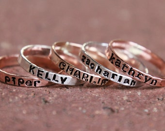 STAMPED NAME RING - Personalized Gold, silver, pink gold hammered rings - kids name rings - Custome rings - handstamped rings