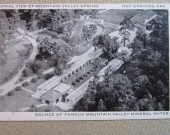 Vintage 1940's Postcard Aerial View of Mountain Valley Spring Hot Springs, Ark