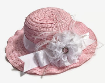 Pink Girl's Embellished Hat, Girl's Hats, Dressy Girl's Hats, Dress Hats, Girl's Accessories, Hats For Girls