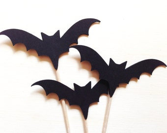 Halloween Cupcake Toppers, Bats, Party Decor, Halloween Decor, Black, Double-Sided, Spooky, Fun, Set of 18
