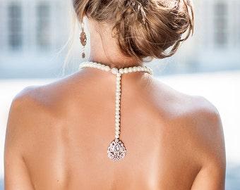 Bride backdrop crystals necklace. Bridal pearl necklace. Backdrop necklace. Back necklace pearls. Crystal necklace. Wedding necklace.