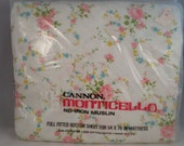 NOS Vintage Full Fitted Sheet, Cannon Monticello No-Iron Muslin Sheets, Floral Sheets, Vintage Cannon Sheets, Vintage Fitted Sheets, Full