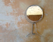 Vintage Shaving Mirror, Folding Two Sided Neck Grooming Mirror, Mens Chrome Metal, Cosmetic Makeup Mirror, Portable 1950s Bathroom Accessory