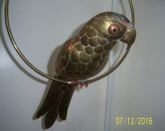 Vintage Brass and Copper Hanging Parrot  - Metal Figurine - 1970's Hanging Bird - Handmade Sculpture - Sergio Bustamante Bird - Parakeet