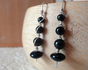 Black Onyx Earrings: Sterling Silver & Black Onyx Wishbone Earrings