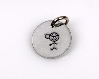 "BOY STICK FIGURE Hand Stamped Disc Charm Pendant, baby shower, 1/2"", shiny silver aluminum, 20 gauge chs2159"