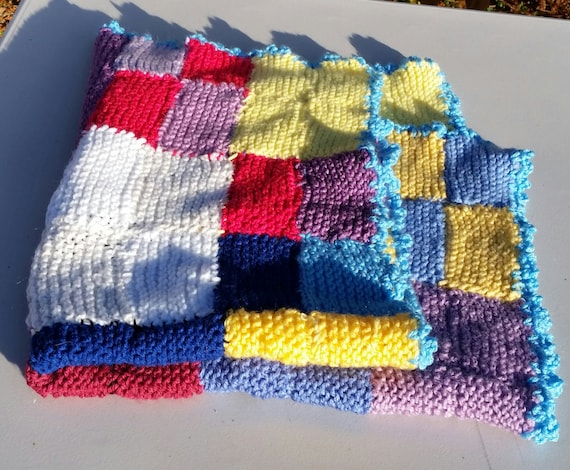 Knitting Edges Together : Handknitted baby blanket colorful knitted