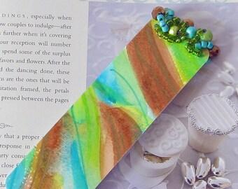 Beaded Bookmark // Watercolor Original Art-Not a Print // Abstract Art