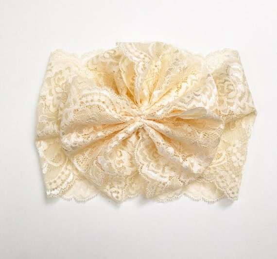 NEW IVORY LACE Oversized Wrap with Cinched Finished or Bow Finish - stretch head wrap/turban/headband / adult / winter/ fall child baby