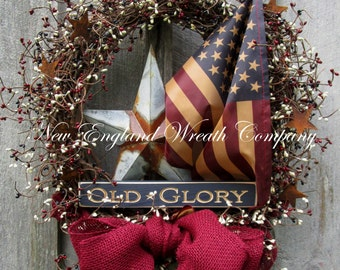 Patriotic Wreath, Americana Wreath, Fall Wreath, Veteran's Day Wreath, Primitive Wreath, Country Designer Wreath, Tea Stained Flag Wreath