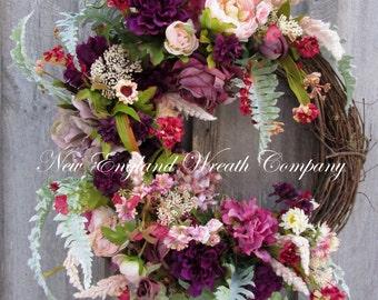 Floral Wreath, Victorian Wreath, Designer Wreath, Easter Wreath, Spring Floral, Country French, Elegant Spring Wreath,  Romantic Wedding