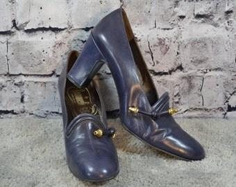 SALE - vintage Romanelli blue leather pumps heels Italy 7AAA NARROW