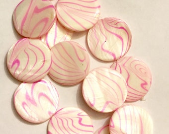 """New Pretty on Pink Round 1"""" Beads Mother of Pearl 13 Beads"""