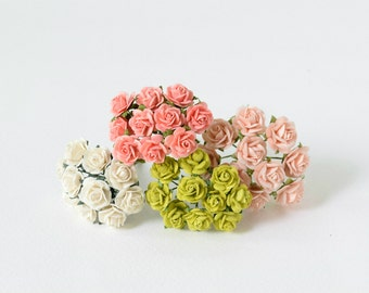40  mixed colors of paper roses
