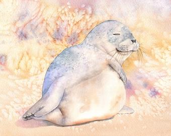 Seal watercolor painting print, summer decor, Contemporary Coastal Decor, S4616, seal print, beach house wall art, A4 size print