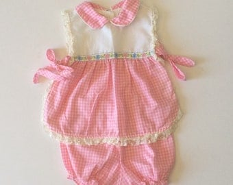 1980's Pink Gingham Folk Apron Top & Bloomers
