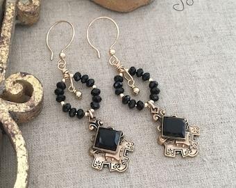 Black Chandelier Earrings, Unique Assemblage Earrings, Handmade Assemblage Earrings, Gold Filled Victorian Earrings - Unique Gifts for Women