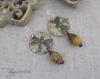 Mixed Media Enamel Copper Earrings, Dragonfly Earrings, BoHo Earrings, Green Earrings Art Glass Beads Bohemian Jewelry JryenDesigns