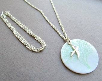 Sparrow Necklace Mother of pearl shell disc, Mothers Day, Gift set,