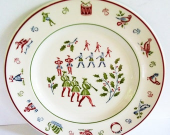 Twelve Days of Christmas 11 Pipers Piping Salad Plate by Johnson Brothers