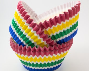 Rainbow Stripe cupcake liners (approx 40 ct) - Whimsical baking muffin cups greaseproof bulk cupcake papers