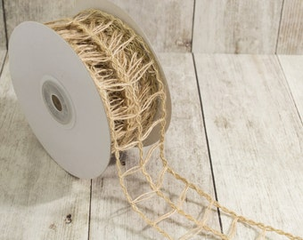 """burlap wire edged natural rope ladder ribbon trim - 1.5"""" width - 10 yard roll -  Natural burlap  RSJS38-12"""