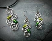 Jewelry Set Matching silver Earrings and Necklace GREEN New Zealand Maori Symbol wire wrapped silverplated Koru Spiral jewelry with meaning