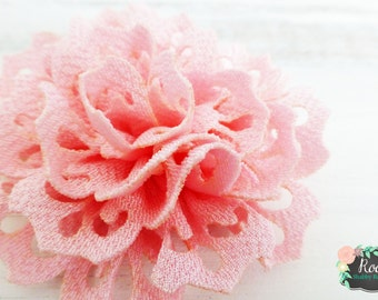 Pink Eyelet Flower Girls Hair Clip - Special Occasion - Baptism - Wedding - Flower Girl - Easter - Photo Session - School Pictures
