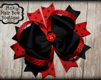 Ladybug Hair Bow, Lady Bug Hair Bow, Ladybug bow, Boutique Hairbow, Ladybug Hair Bow Boutique Style lady bug birthday hair bow