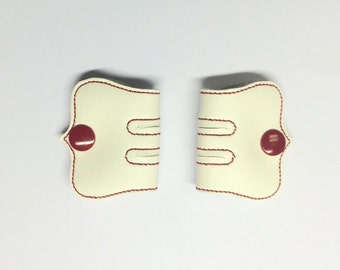Cord Keeper, Iphone cord, Ear bud cord, Cord organize, Off White Vinyl cord keeper, Red snaps and thread, Snap cord keeper