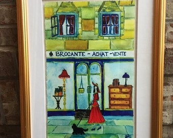 Large Original Parisian Street Watercolor Painting Imported from France