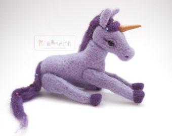 Needle Felted Purple Unicorn.