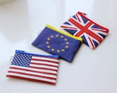 Coin purse for Foreign Currency, special wallet to keep your US Dollars, GB Pounds, European Euros and more, Wallet with a Flag on it
