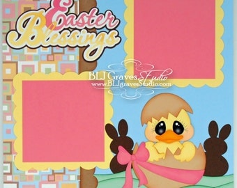 Premade Easter Scrapbook Page Boy Girl Baby 12x12 Layout Paper Piecing Handmade 27