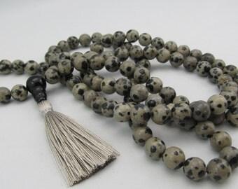 Mala - 8mm dalmatian jasper 108 beads buddhist mala - stone mala - prayer necklace - meditation