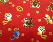 Year of Monkey, red, gold metallic, fat quarter, pure cotton fabric