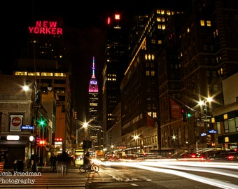 Empire State Building at Night with Easter Colors, New York City, Fine Art Photograph, Pastel, Manhattan, Spring, Wall Art, Home Decor