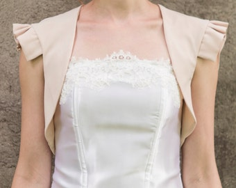 Beige bolero, beige cream wings bolero, cap sleeve bolero, bridesmaids bolero, beige wedding bolero, bridal bolero, beige bridesmaids jacket
