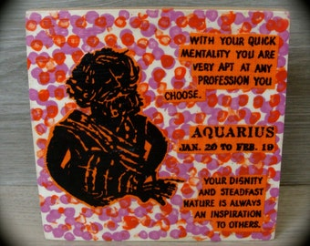 Aquarius Painted Wood Plaque with Linen January 20 to February 19 Astrology