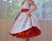 "1950's Rockabilly ""Lara"" Wedding Dress with Red Polka Dot Waistband, Full Circle Skirt  and Red Petticoat - Custom Made to Fit - Any Colour"