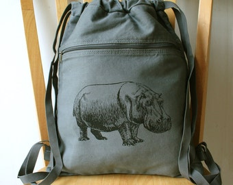 Hippo Canvas Backpack School Bag Laptop Bag