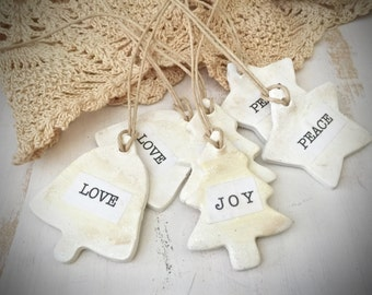 Polymer Clay Ornaments - Set of 6 Christmas Shapes - Love, Joy, Peace Clay Ornaments/Tags - Holiday - Christmas - Cottage - Farmhouse - Tags