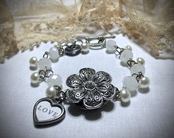 "Handmade White Beaded and Antique Silver Bracelet with Vintage Buttons and Heart ""Love"" Charm - Handmade - Shabby Chic - Gifts"