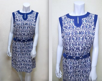 Vintage 60s Thai Bird Print Dress w Cord Belt L XL